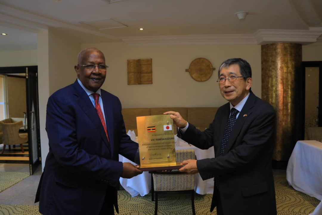 Minister of Foreign Affairs Sam Kutesa applauded outgoing Ambassador of Japan to Uganda Kazuaki Kameda