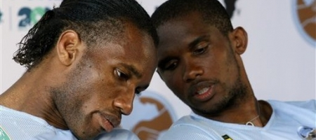 Football legends Drogba(L) and Samuel Eto'o. Courtesy photo