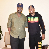 Gen Muhoozi Kainerugaba (L) with the visiting superstar Nick Cannon. Courtesy photo