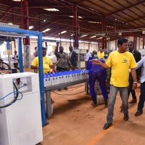 Museveni commissioning one of the factories in Jinja. PPU photo