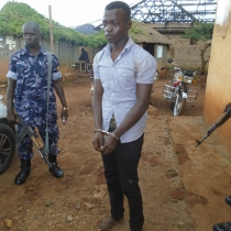 Murder suspect Silver Amariat at Kagadi Police. Courtesy photo