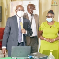 MAAIF PS Pius Wakabi, Commissioner for crop protection Paul Mwambu and Christine Alokit, Communication and Extension Scientist at CABI