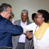 Dr Tedros received by Minister Aceng with a signature greeting to ensure avoidance of Ebola spread. Courtesy photo