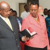 President Yoweri Museveni and his wife Janet during prayers.