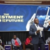 Dfcu Bank's CEO, Mathias Katamba speaking at the launch of the Investment Club App. Courtesy photo