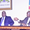 Presidents; Museveni and Tshisekedi address a press conference at State House Entebbe.PPU Photo