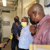 Minister Peter Ogwang touring UBC transmission site in Kololo