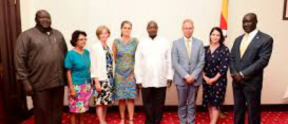 President Museveni with the NORDIC Envoys at State House Entebbe. PPU Photo