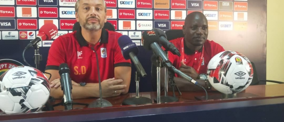 Cranes Coach Sebastien Desabre and Captain Denis Onyango addressing the media. Courtesy photo