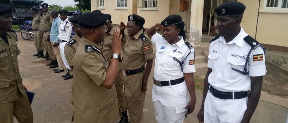 AIGP Kasingye being saluted by officers on arrival in Gulu. Courtesy photo