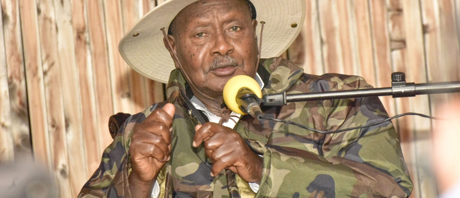 President Yoweri Museveni addressing the media in Kapchorwa. PPU photo
