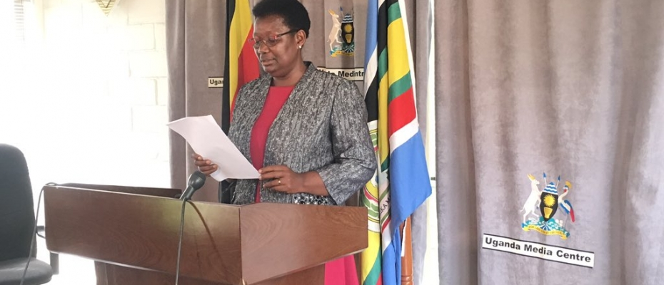 Minister for Presedency Esther Mbayo addressing the media. Courtesy photo
