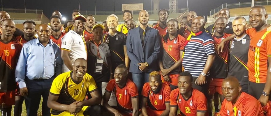 King Oyo with the Uganda Cranes players in Egypt. Courtesy photo