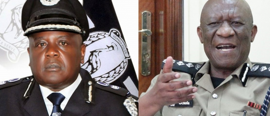 AIGP Bangirana (left) ordered out of office by IGP Ochola (right) Courtesy photo