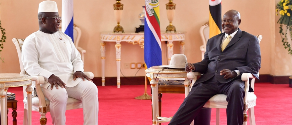 President Museveni with the Sierra Leone leader at State House Entebbe. PPU photo