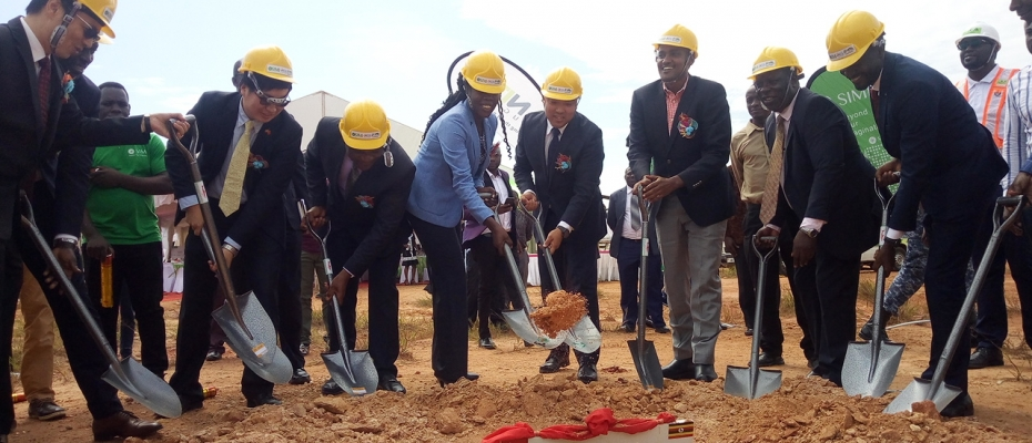 Ministers Frank Tumwebaze, Evelyn Anite and other officials during the groundbreaking ceremony of the ICT plant in Namanve