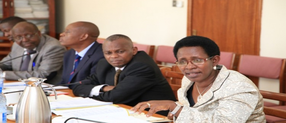 Dr Atwine (R) appearing before the committee on Health on Wednesday