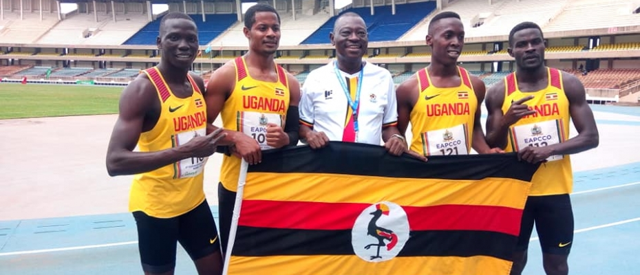 Director Special Duties AIGP Andrew Sorowen with the Police Relays men's team. Courtesy photo