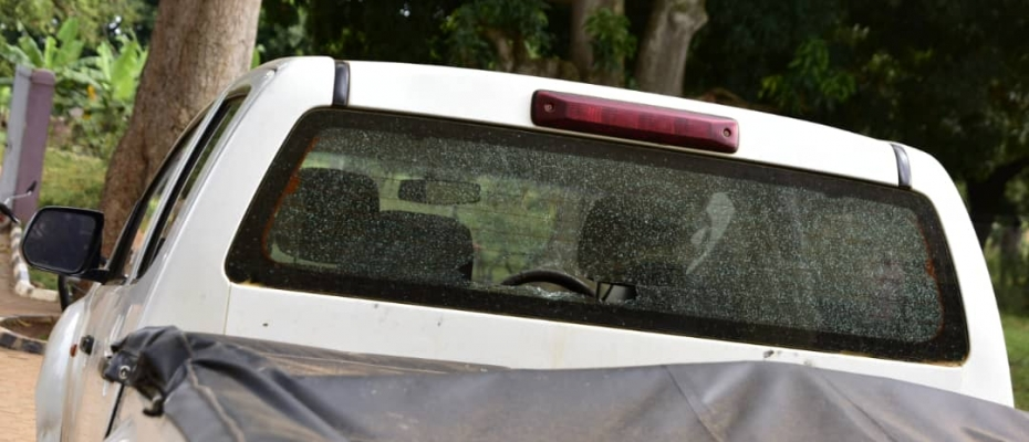 RDC Najjuma's damaged car at Kibuku Police Station. Photo by Fred Kiva