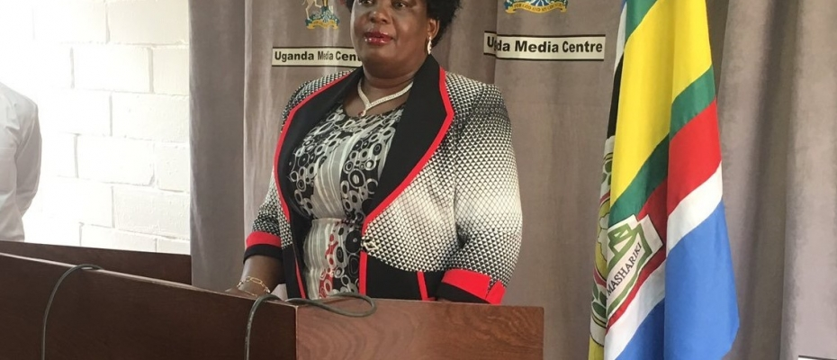 Lands Minister Betty Amongi addressing the media. Courtesy photo
