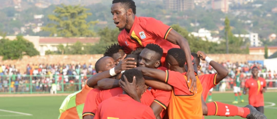 The Cranes players celebrate after victory over Burundi. Courtesy photo