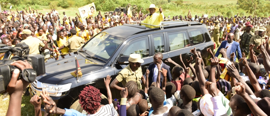 President Museveni arriving at a campaign rally in Hoima last week. PPU photo