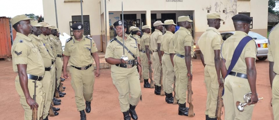 Officers at Kiryandongo Police Station mount a parade to welcome the Rectification team. Courtesy photo