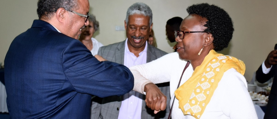 Health Minister Dr Jane Ruth Aceng receiving WHO Director General recently. Courtesy photo