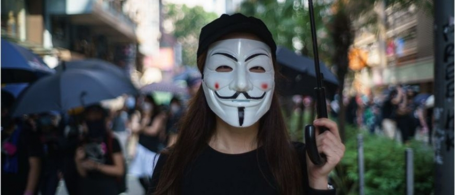 A protester in Hong Kong wearing a face mask. Courtesy photo