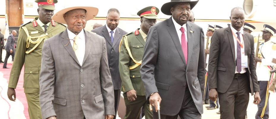 President Yoweri Museveni after being received by Salva Kiir of South Sudan at Juba Airport.PPU photo