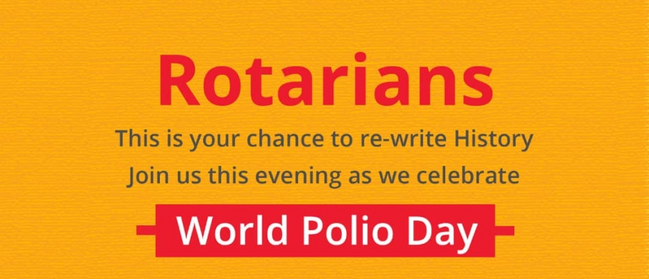 Rotary  will today mark World Polio Day 2019 at the Rotary Club of Muyenga Tank Hill