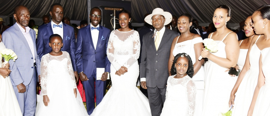 President Museveni at Wedding reception for UNRA's Legal Officer on Saturday. PPU photo
