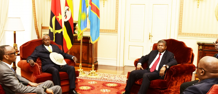 Presidents Kagame, Museveni (L) together DRC's Tshisekedi and Lourenco at the Angola leader's palace in Luanda. PPU photo