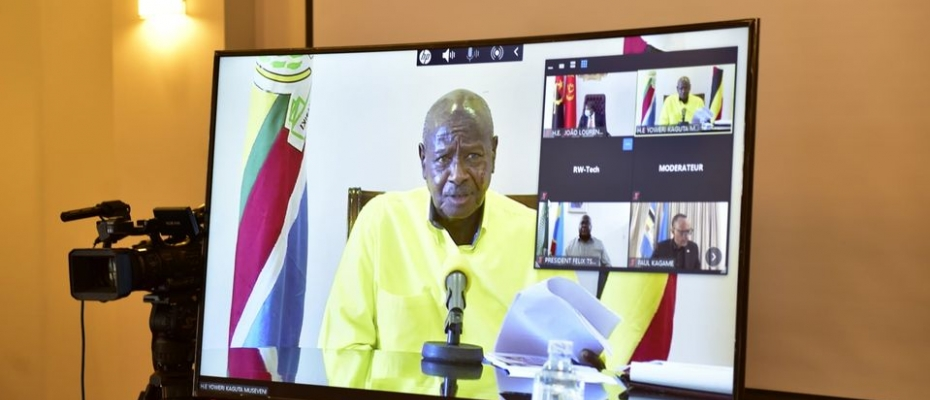 President Museveni and his counterparts during the virtual min-summit