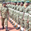 Lt Gen Mbadi flagging off troops to Somalia. DPU Photo