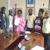 Speaker Rebecca Kadaga (C) with the youths from Gulu
