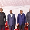 (L-R) Presidents Kagame, Museveni, Lourenco and Tshisekedi during the 4th Quadripartite Summit at Katuna. PPU photo.PPU photo