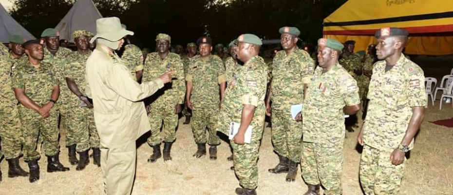 President Museveni addresses UPDF soldiers in Moroto Baracks. PPU photo