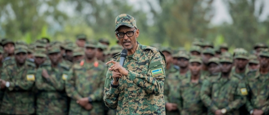 Rwandan President Paul Kagame addresses RDF troops after a military exercise recently. courtesy photo