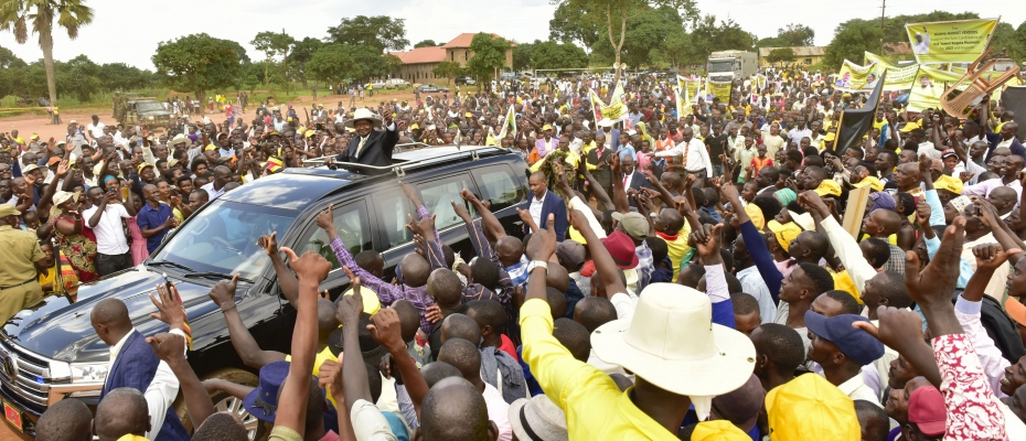 President Museveni arriving in Nakaseke. PPU photo