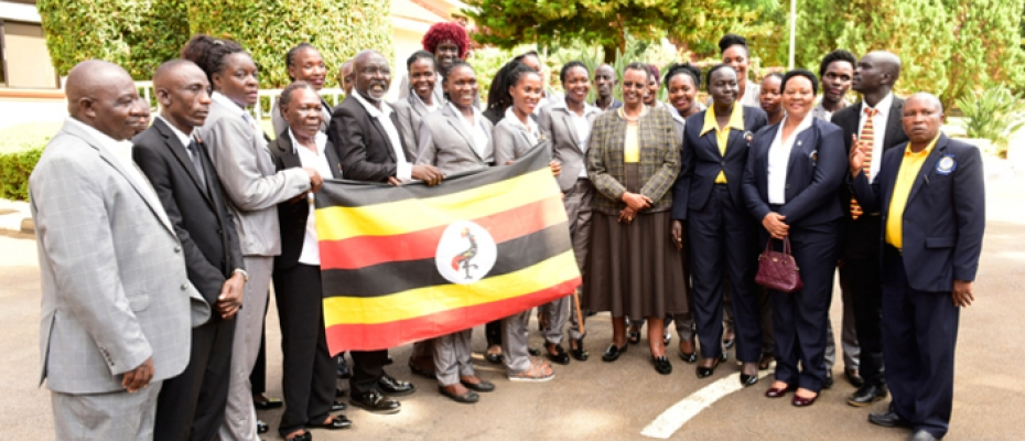 Janet Museveni flagging off the She Cranes team at State House Nakasero. PPU photo