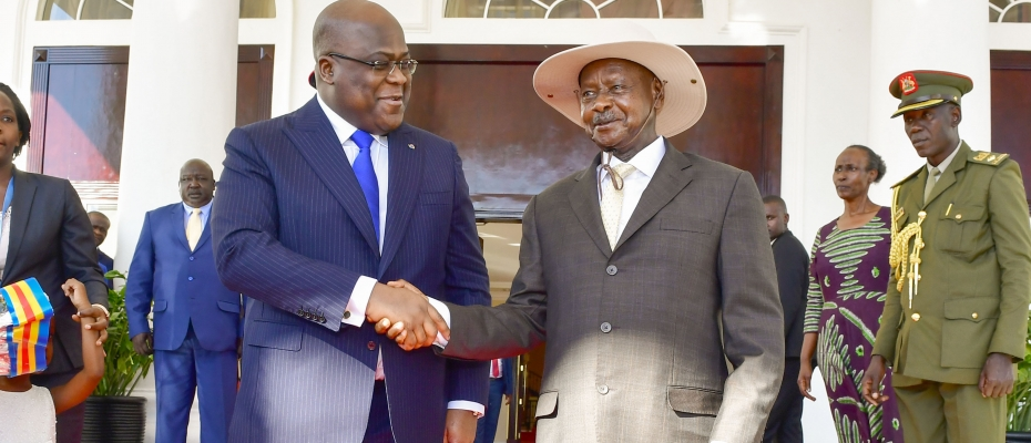 President Museveni chats with DRC Counterpart Felix Tshisekedi on arrival. PPU Photo