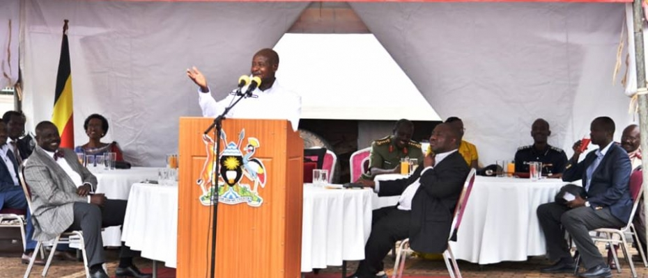 President Museveni speaking at the UPDF Thanksgiving ceremony. PPU photo
