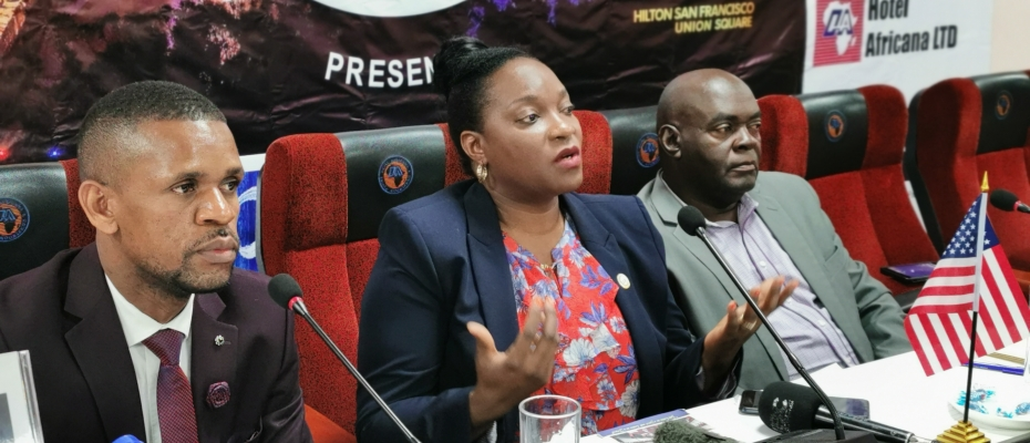 UNAA President Henrietta Nairuba Wamala (C) with other officials addressing the media in Kampala on Wednesday